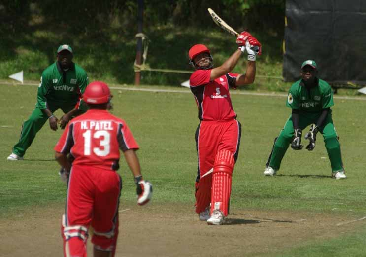 Rizwan Cheema in his element drives the ball from the north-west onto  the south-west ground