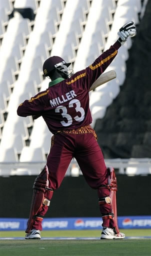 Nikita Miller celebrates his fifty