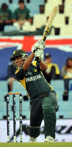 Kamran Akmal plays a shot