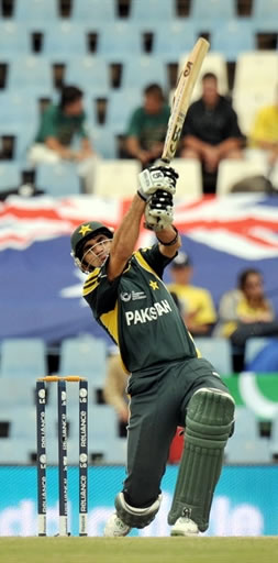 Misbah-ul-Haq plays a shot