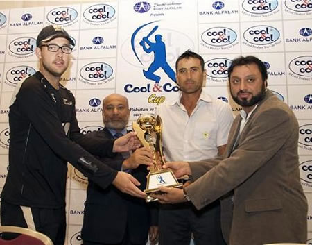 Younis Khan & Daniel Vettori with Bank Alfalah presents Cool & Cool Cup Trophy