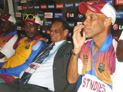 Chris Gayle (left), Hon. Dr.Julian R Hunte (centre) and Jimmy Adams