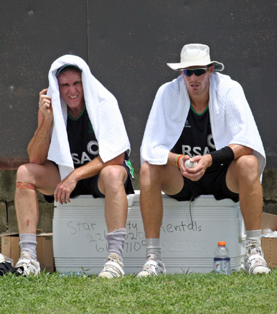 Training was hot work for Trent Johnston and Boyd Rankin