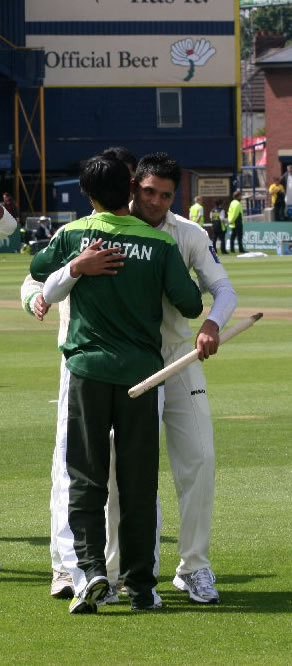 Azhar and Butt congratulate each other after historic win over Australia