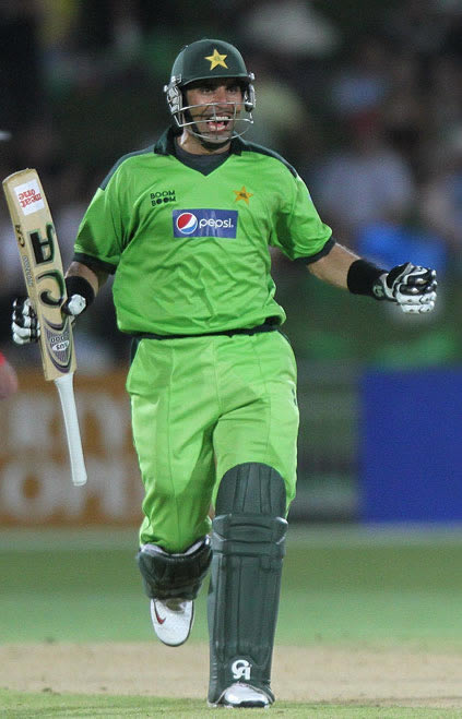 Misbah-ul-Haq celebrates after winning the 4th ODI against New Zealand
