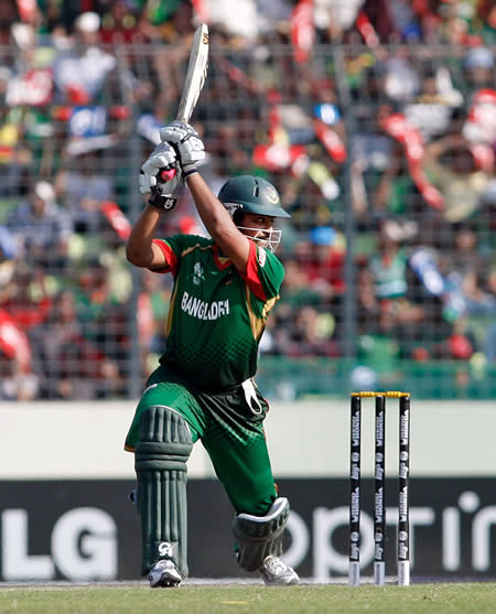 Tamim Iqbal plays a cover drive