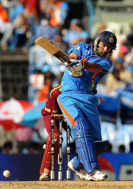 Yuvraj Singh plays a shot against West Indies