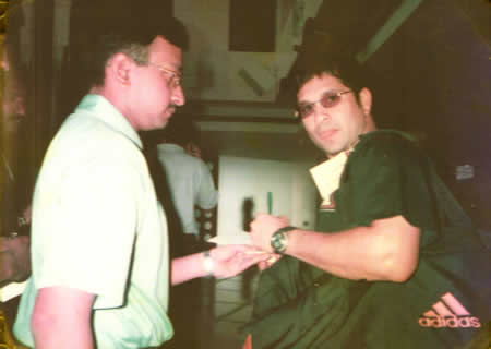 Sachin Tendulkar and D Giridhar meet
