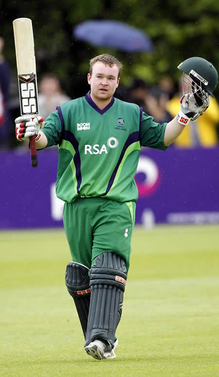 Paul Sterling celebrates his ton against Pakistan in 2nd ODI