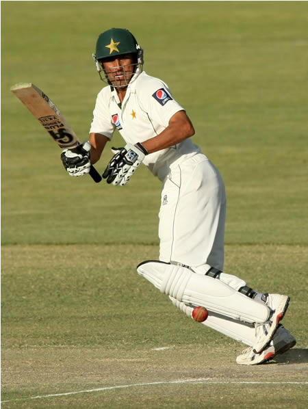Younis Khan flicks one off his pads on his way to 88