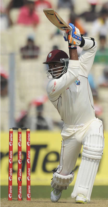 Marlon Samuels drives fluently through the covers