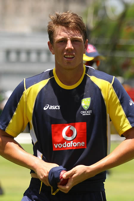 James Pattinson gets ready to bowl in the nets
