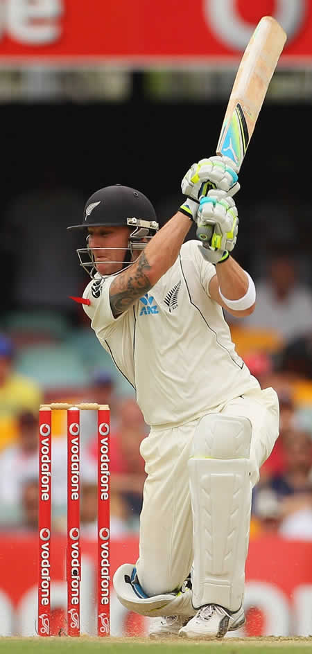 Brendon McCullum drives hard
