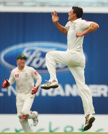 Mitchell Starc is thrilled to have his first Test wicket