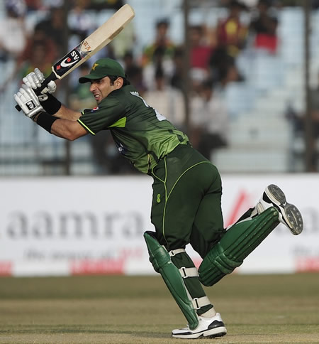 Misbah-ul-Haq flicks during his 47