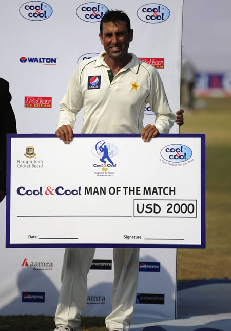 Younis Khan was Man of the Match for his unbeaten double-century