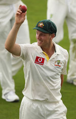 James Pattinson displays the ball with which he claimed his five-for