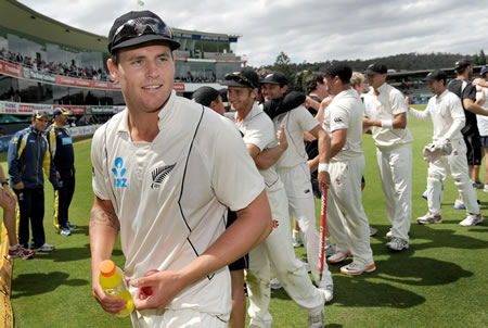 Doug Bracewell walks off the field after New Zealand's victory