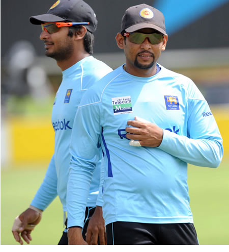 Kumar Sangakkara and Tillakaratne Dilshan during practice