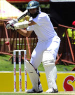 Hashim Amla prepares to cut the ball