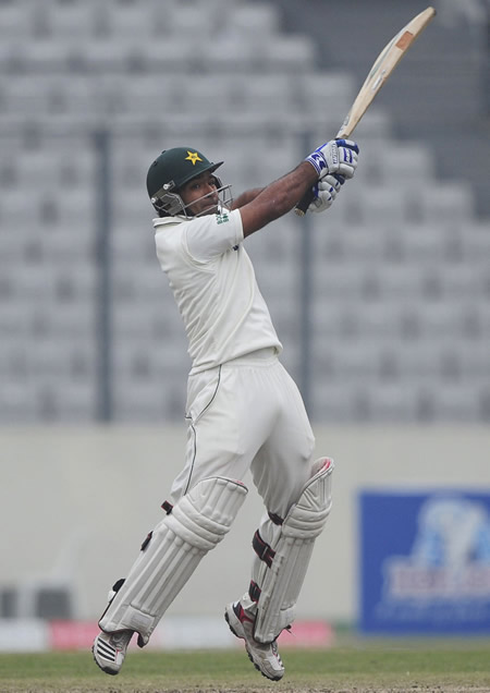 Asad Shafiq plays a powerful shot
