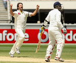 Ben Hilfenhaus is pumped up after dismissing Virender Sehwag