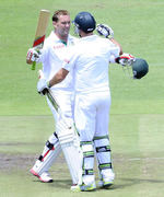 Jacques Kallis celebrates his double-ton with AB de Villiers