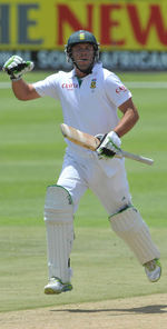 AB de Villiers celebrates a milestone on his way to 160 not out