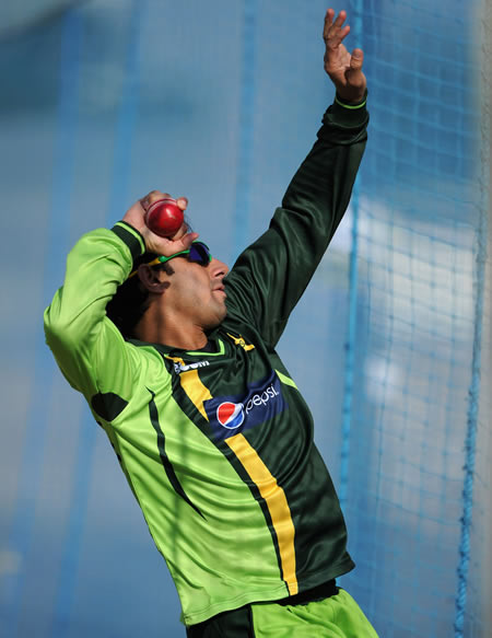 Saeed Ajmal bowls in the nets