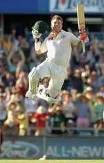 David Warner takes off after reaching his century with a six off his 69th ball