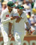 Nathan Lyon and David Warner are all smiles after Australia beat India