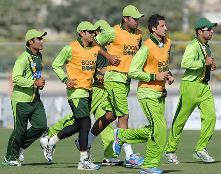 Pakistan players in training ahead of the first Test against England