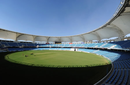 The Dubai International Cricket Stadium ahead of the first Test between Pakistan and England