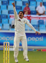 Saeed Ajmal appeals for the wicket of Chris Tremlett
