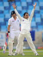 Saeed Ajmal celebrates his seventh wicket