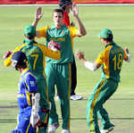 Morne Morkel is congratulated on dismissing Dinesh Chandimal