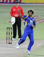 Lasith Malinga is pumped up after dismissing Graeme Smith