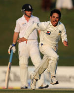 Saeed Ajmal races off in celebration of his third wicket