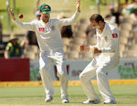 Nathan Lyon and Michael Clarke celebrate after getting rid of Sachin Tendulkar