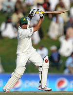 Azhar Ali drives on the third afternoon