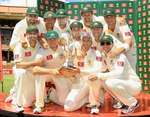 The Australians pose with the Border-Gavaskar Trophy