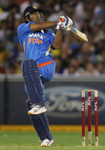 MS Dhoni pulls on one leg