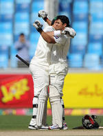 Misbah-ul-Haq congratulates Azhar Ali on his 319-ball century