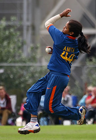 Amita Sharma in full flow during the 4th ODI