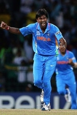 L Balaji celebrates after taking a wicket