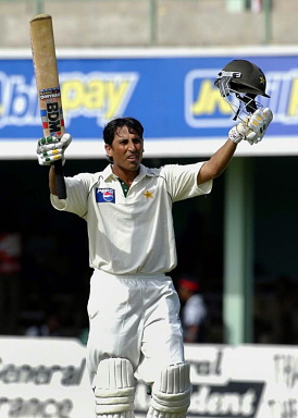 Younis Khan celebrates his 9th century