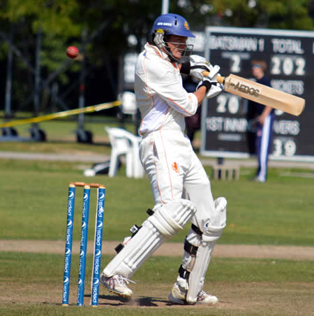 Eric Szwarczinski's fine innings ends on 85 when edges to the wicketkeeper
