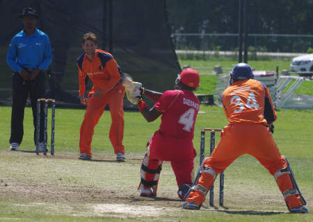Damodar Daesrath powers a six to long-on off Pietar Seelar