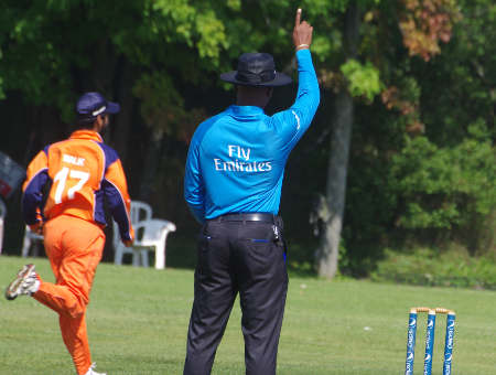 The umpire's finger goes up to end Gunasekera's innings