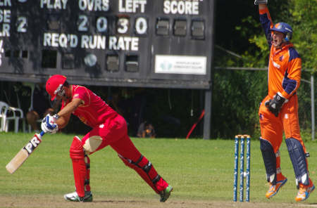 Wicketkeeper Wesley Barresi leads a successful LBW appeal against Harvir Baidwan
